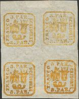 Romania. *Yv 8. 1862. 6 P Yellow, Block Of Four (unimportant Cut In An Margin That Does Not Affect The Drawing). VERY FI - Rumania