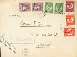 Romania. COVERYv 383(2), 391(2), 393(2), 394. 1930. 1 L Violet, Two Stamps And Different Values, On The Front And On The - Rumania