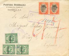 Guatemala. SOBREYv 173(3), 124(7), 129(2). 1921. 25 Cts Verde (Tipo I), Tres Sellos, 2 Pesos Naranja Y Negro, Dos Sellos - Guatemala