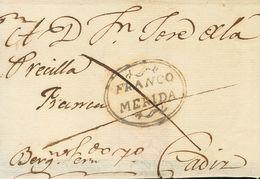 Méjico, Prefilatelia. SOBRE. (1809ca). MERIDA DE YUCATAN (MEJICO) A CADIZ. Marca FRANCO / MERIDA, En Negro (P.E.7) Edici - México