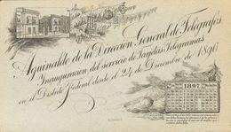 Méjico, Entero Postal. (*). 1896. 10 Ctvos Negro Sobre Tarjeta Telegrama AGUINALDO DE LA DIRECCION GENERAL DE TELEGRAFOS - México