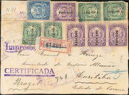 Nicaragua. SOBREYv 196(3), 198(4), 200. 1906. 1 Ctvo Verde, Tres Sellos, 3 Ctvos Violeta, Cuatro Sellos (al Dorso), 5 Ct - Nicaragua
