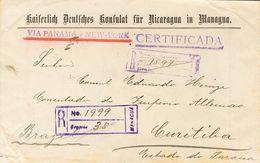Nicaragua. SOBREYv 216(3), 227(8). 1907. 10 Ctvos Sobre 2 Ctvos Rosa, Ocho Sellos Y 20 Ctvos Sobre 5 Ctvos Azul, Tres Se - Nicaragua