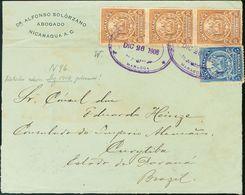 Nicaragua. SOBREYv 200, 223(3). 1906. 5 Ctvos Azul Y 10 Ctvos Castaño Amarillo (waterloo), Tres Sellos. MANAGUA A CURITI - Nicaragua
