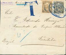 Nicaragua. SOBREYv 257, 258. 1910. 15 Ctvos Negro Y 20 Ctvos Oliva. MANAGUA A CURITIBA (BRASIL). Tasada A La Llegada Con - Nicaragua