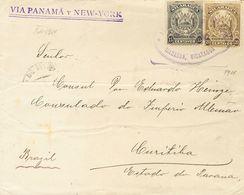 Nicaragua. SOBREYv 257, 258. 1911. 15 Ctvos Negro Y 20 Ctvos Oliva. MANAGUA A CURITIBA (BRASIL). Circulada Vía Corinto,  - Nicaragua