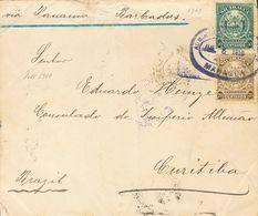 Nicaragua. SOBREYv 258, 259. 1910. 20 Ctvos Oliva Y 50 Ctvos Verde. MANAGUA A CURITIBA (BRASIL). En El Frente Manuscrito - Nicaragua