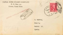 Panama Canal Zone. COVERYv 78. 1931. 2 Ctvos Carmine. GATUN To MADRID. Duplex Postmark GATUN / C.Z. / 1 And On The Front - Sellos