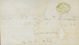 Uruguay. COVERYv . (1864ca). Three Letters And A Front With Oval Datestamp ADMON DE CORREOS / MONTEVIDEO, In Black (lett - Uruguay