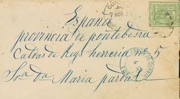 Uruguay. COVER36. 1873. 10 Cents Green. MONTEVIDEO To CALDAS DE REIS (lack Of Rear Flap). On The Front Postmark CORREO / - Uruguay