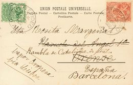 Uruguay. COVERYv 152, 153. 1902. 1 Ctvo Green And 2 Ctvos Red . Postcard From MONTEVIDEO To ORENSE, Readdressed To BARCE - Uruguay