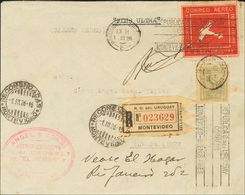 Uruguay. COVER290, Aéreo 5. 1926. (1st March). 10 Cts Greenish Blue And 10 Red Cts. Registered Airmail From MONTEVIDEO T - Uruguay