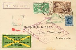 Uruguay, Airmail. COVERYv 14, 31. 1930. 10 Cts Green, 40 Cts Brown And 8 Cts Blue. Graf Zeppelin From MONTEVIDEO To LORC - Uruguay