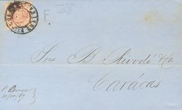 Venezuela. COVER16a. 1867. ½ Real Brown Lilac POSTAL FORGERY. LA GUAIRA To CARACAS. Postmark CORREOS / LA GUAIRA. VERY F - Venezuela