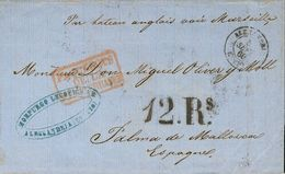"""Egypt. COVER. 1860. ALEJANDRIA (EGYPT) To PALMA DE MALLORCA. Addressed By The French Mail With Handwritten Inscription """" - Egipto"""