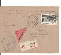 Lettre Recommandée Lusignan + Remboursement Avec 50f Gerbier De Jonc , 1949 - Briefe U. Dokumente