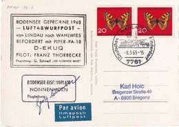 BUND  A.K. LINDAU EISJAHR 1963 LUFTABWURFPOST  AUS BODENSEE EISFLUGPLATZ MEHRFRANKATUR - [7] République Fédérale