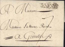 Bureau Français En Suisse 1759 MP Marque Postale GENEVE 31X65 Trace Usure Du Bureau Fr Lettre Du 20 4 1759 Pour Grenoble - Postmark Collection (Covers)