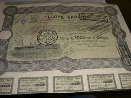 AZIONE LLOYD SABAUDO -TITOLO DI 100 AZIONI DA 250LIRE  1924 - Bank & Versicherung