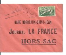 Lettre Hors Sac / Journal La France / Gare Bordeaux St Jean Avec Timbre Jeux Olympiques 1924 - France