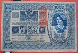 """1000 Kronen 2.1.1902 (WPM 59) - Overprint / Überdruck """"Deutschösterreich"""" - Autriche"""