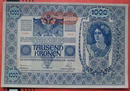 """1000 Kronen 2.1.1902 (WPM 61) - Overprint / Überdruck """"Deutschösterreich"""" """"II. Auflage"""" - Austria"""