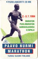 FINLAND - Paavo Nurmi Marathon 94, Turun Puhelin Telecard, Tirage 10200, Exp.date 12/96, Used - Finland