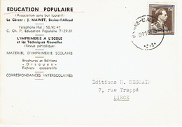 CP Publicitaire BRAINE L'ALLEUD 1953 - EDUCATION POPULAIRE - Matériel D'umprimerie Scolaire - Gérant J. MAWET - Eigenbrakel
