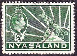 NYASALAND 1938 KGVI 1/2d Green SG130 FU - Nyasaland (1907-1953)