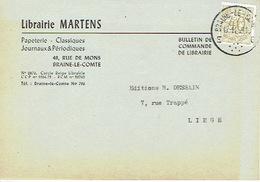 CP Publicitaire BRAINE-LE-COMTE 1959 - Librairie MARTEN - Papeterie - Journaux Et Périodiques - Braine-le-Comte