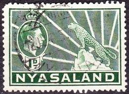 NYASALAND 1942 KGVI 1d Green SG131b FU - Nyasaland (1907-1953)