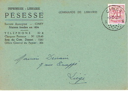 CP Publicitaire CINEY 1952 - PESESSE - Imprimerie - Librairie - Ciney