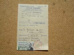 N°1277 Seul Sur Avis De Virement Chèques Postaux  Oblitération Pierrefeu Du Var 1961 - Other