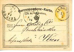 "ALBONA 23mm 14.2.1876 RUCK : ""  "" - Stamped Stationery"