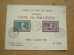 Souvenir Philatélique Numéroté Coupe Du Philatéliste Comité De L'art Des Fêtes Paris 1938 - Commemorative Postmarks