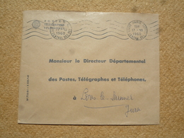 Enveloppe PTT Pour Lons Le Saunier Oblitération Paris Dépôt Central Des Rebuts 1960 - Marcophilie (Lettres)