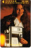 FINLAND - Girl On Cardphone, Puhelu Yhdistää, Turun Puhelin Telecard, Tirage 15500, Exp.date 12/96, Used - Telephones
