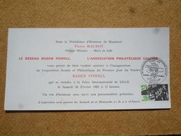Invitation Affranchie Baden Powell Oblitération 75ème Anniversaire Du Mouvement Scout 1982 Lille - Commemorative Postmarks