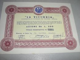 AZIONE LA VITTORIA  L.500 COOPERATIVA DI CONSUMO FRA TRANVIERI - Trasporti
