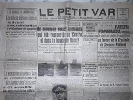 Journal Guerre LE PETIT VAR , Bataille De Marmarique,  Front Oriental, Nouvelles Locales Toulon Et Environs, 22 .11.1941 - Giornali