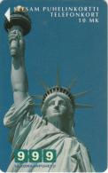 FINLAND - Statue Of Liberty/New York(reverse Turun Puhelin, Dark Brown Strip), Tirage 18400, Exp.date 12/99, Used - Landschappen