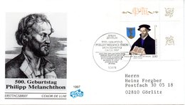 """BRD Schmuck-FDC """"500. Geburtstag Philipp Melanchthon"""" Mi.1902 ESSt 4.2.1997 BERLIN ZENTRUM - BRD"""