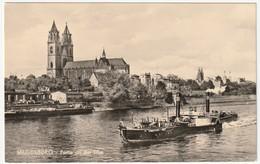 AK SW Magdeburg Partie An Der Elbe, Dom, NEU, Gebr. Garloff, Echt Foto, 13,9 X 8,8 Cm, Z 122 IV-14-45 T 115/58, 2 Scans - Magdeburg