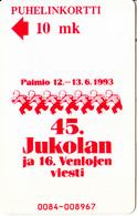 FINLAND - Jukolan 1993, Turun Puhelin Telecard, Tirage 9000, Exp.date 12/94, Used - Finland