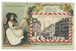 68-MULHOUSE-Carte Gaufrée Bilingue Place De La Concorde...1913  Animé  (verso Timbre Décollé) - Mulhouse