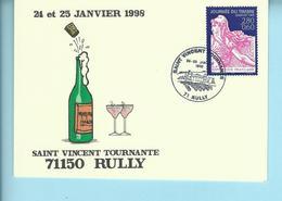 Cartes De La Saint Vincent Tournante DeRULLY  1998 - Philatelic Fairs