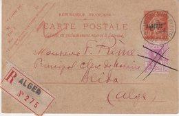 """ALGERIE : ENTIER POSTAL . TYPE SEMEUSE . 30 Cts ROUGE . AVEC COMPlt DE L'EXPO DE 1930 . POUR """" BLIDA """" . 1930 . - Lettres & Documents"""