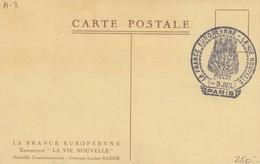 FRANCE - CARTE CACHET COMMÉMORATIF LA FRANCE EUROPEENNE- LA VIE NOUVELLE PARIS 5.7.1942 /1 - Commemorative Postmarks
