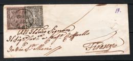Parma 1852 10c+15c Su Lettera Da Parma A Firenze 22/05/1857 Sass.2+3  VF/F - Parma