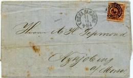 4s Royal Emblems 1862 Hamburg 2 In Target  To Nykjobing. - 1851-63 (Frederik VII)